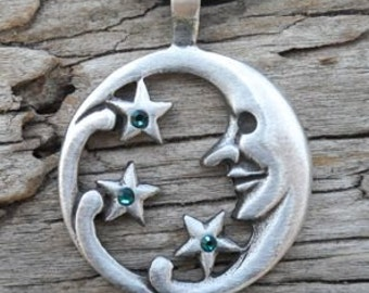 Pewter Moon Face and Stars Lunar Celestial Pagan Pendant with Swarovski Crystal Blue Topaz or Citrine DECEMBER Birthstone (39E)