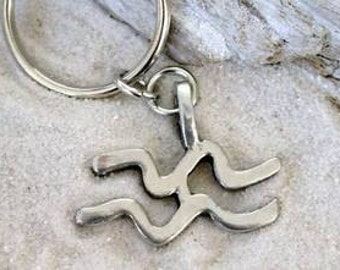 "Pewter Aquarius ""The Water Carrier"" Zodiac Astrology Sun Sign of January February Keychain Key Ring (27A)"