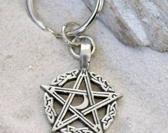 Pewter Pentagram Crescent Moon Pagan Pentacle Keychain (304)