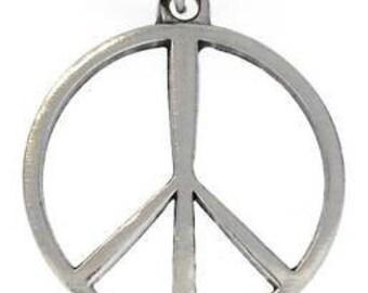 Pewter Peace Sign Yoga Love Hippie Namaste Meditation Pendant (321)