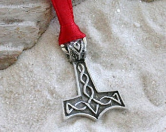 Pewter Thor's Hammer Mjolnir Norse Viking Christmas Ornament and Holiday Decoration (39K)