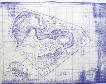 2 Sheets DisneyLand Pirates of the Caribbean Ride Blueprint