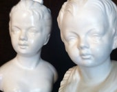 Vintage Boy and Girl Ceramic Busts Great Mantle Decor