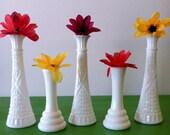 Wonderful Centerpiece...Set of Five Vintage Milk Glass Vases