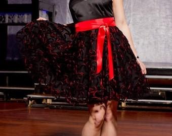 Festive black and red halter dress