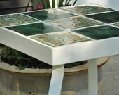 Talavera tile plant stand or side table - green tile