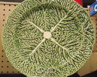Bordallo Pinheiro Green Cabbage Chop Plate Majolica Glaze