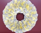 Grey and Yellow Cupcake Liner Wreath