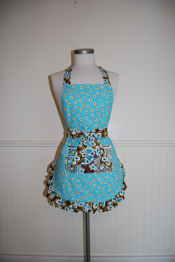 REVERSIBLE Turquoise and Brown Full Apron with Ruffles and Pocket
