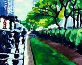 Poster Print of Oil painting: New York City Scene, 12x18