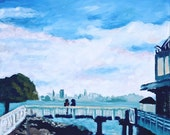 Poster Print of Oil painting: Tiburon and a San Francisco Cityscape, 12x18