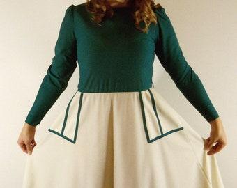 1960s Vintage - - Teal & Cream Dress - - Medium/Large