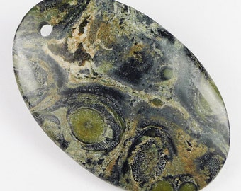 Green Kambara Jasper Pendant Bead - 55x35x6mm