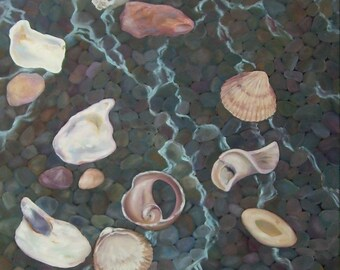 """Large painting, beach painting, shell series...""""Following the water"""", ocean, meditation, water, shells"""