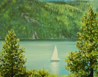 """Small painting, summer, lake, sailboat,  """"Tranquil Sailing"""",  lake painting, summer day, wedding gift, mother's day"""