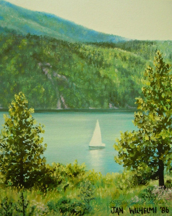 "Small painting, summer, lake, sailboat,  ""Tranquil Sailing"",  lake painting, summer day, wedding gift, mother's day"