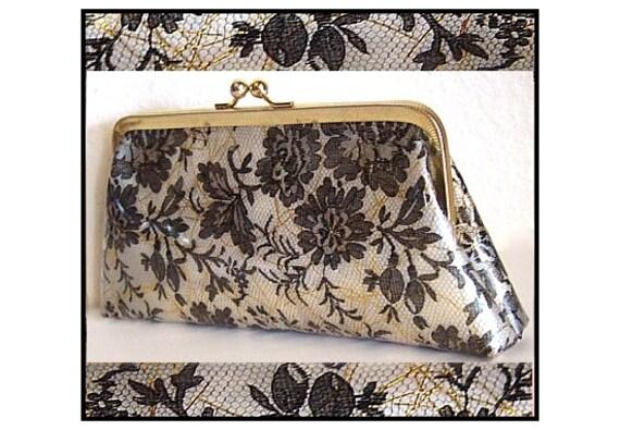 Vintage 1950s Purse Clutch Confetti Floral Lace Clear Designer Garden Party Rockabilly Mad Man Retro Dress Femme Fatale Couture