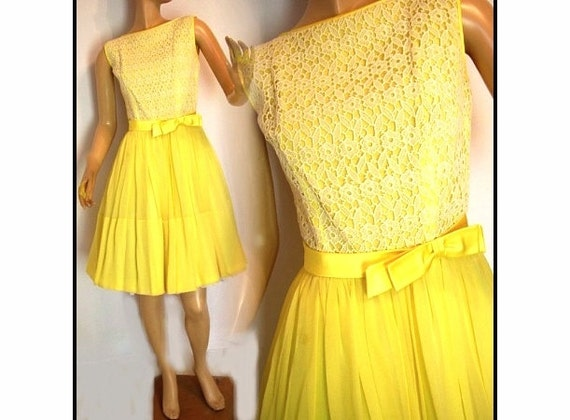 Vintage 1950s Dress Yellow Original Designer by ByMidnightSparkle