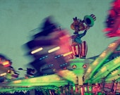 8X12. Carnival park at night. Fun lights. Barcelona. Home decor. - filamentoTGS