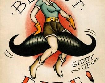 Flapper on a Moustache Ride Tattoo Flash Print