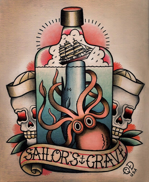 Items similar to sailor 39 s grave nautical tattoo flash on etsy for Sailors grave tattoo gallery