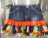 Hello Kitty Halloween Ruffle Jean Skirt 2T, 3T, 4T, 5T