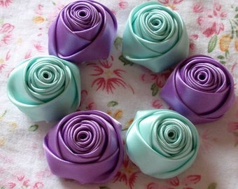 6 Handmade Rolled Roses (1-1/4 inches) in Deiphinium, Aqua MY-025 -07 Ready To Ship