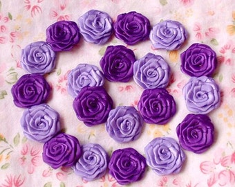 20 Small Handmade Ribbon Roses (3/4 inches) In Deiphinium, Purple MY-30-09 Ready To Ship