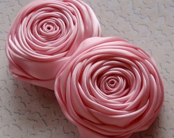 2 Handmade Ribbon  Rolled Roses (2.5 inches) in Rose Pink MY-015 -20 Ready To Ship