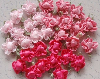 30 Handmade Flowers In Pink Combination MY-042- 01 Ready To Ship