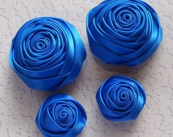 4 Handmade Rolled Roses (2 inches,1-1/4 inch) in Royal  MY-060-72 Ready To Ship