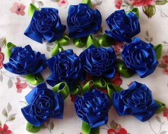 10 Handmade Flowers With Leaves (1-1/4 inches) In Dark Blue  MY-029- 60 Ready To Ship