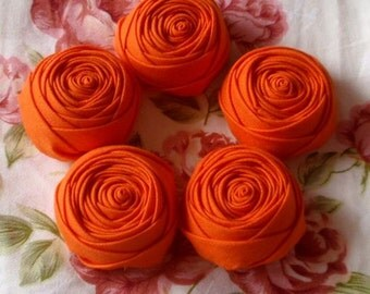 5 Small Handmade Rolled Rose Faric Flower Fabric Rose (1.5 inches) in Orange MY- 078- 03 Ready To Ship