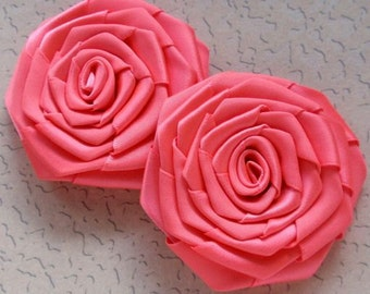 2 Handmade Ribbon Roses (2-3/4 inches) in Possion Fruit MY-090-23 Ready To Ship
