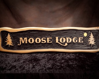 Rustic Carved Adirondack Themed Sign.
