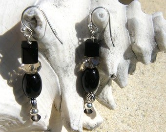 Earrings - Black Onyx with rondel and silver