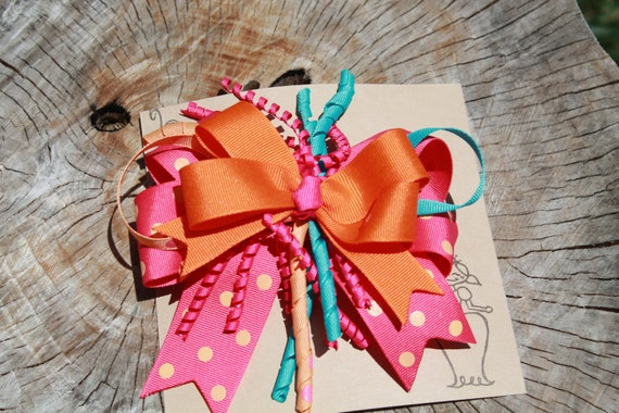 Pink and Orange Polka Dot Hair Bow