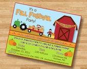 Fall Festival Pumpkin Patch Birthday Party Invitation Invite