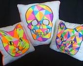 Neon Skull Pillow Geometric Design Medium Size