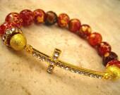 Celebrity Inspired Orange Fire Crackle Agate Semi Precious Gemstone Beaded Stretch Bracelet Gold Crystal Cross