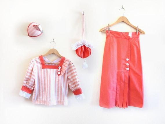 Reserved - 1950's Sailor Girl Dress Ensemble Set with Matching Pillbox Hat, Crop Top, Purse/Handbag and Skirt