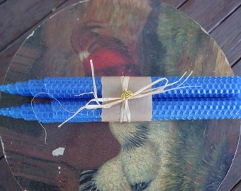 French blue 100% beeswax rolled taper candles