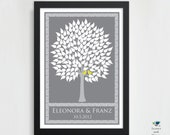 Wedding Tree Guest Book Personalized Art Poster // 2 Love Birds // Victorian Wish Tree // Summer / Fall Tree // 160 Guest // 24x36