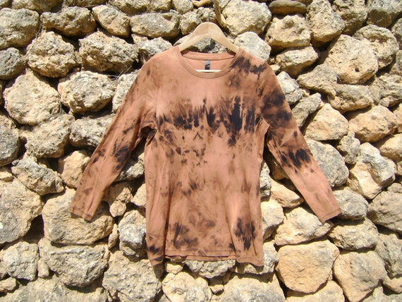 Tie Dyed Long Sleeved T Shirt Rust and Black Forest Fairy Bleached