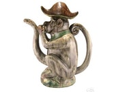 Vintage Majolica Monkey Teapot with Snake Spout and Removable Hat.
