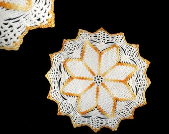 Vintage Yellow and White Crocheted Spider-Web Doily