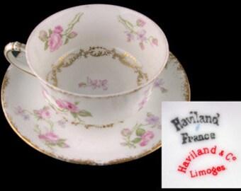 Antique Limoges Haviland Pink Floral Cup and Saucer Set - France