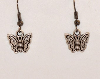Butterfly Earrings, Silver Earrings, Tibetan Silver, Charm Earrings