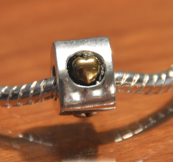 Gold Heart Charm / Bead 3-Sided