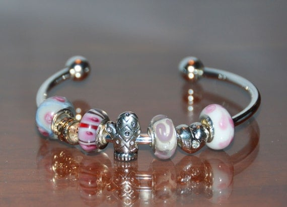 Cuff Style Charm Bracelet